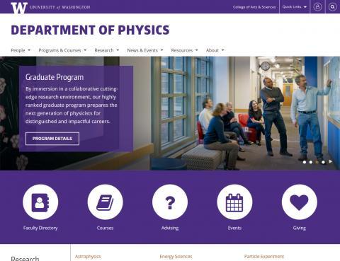 UW Department of Physics website